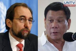 United Nations High Commissioner Zeid Ra'ad Al Hussein (left) and Philippine President Rodrigo Duterte (right).