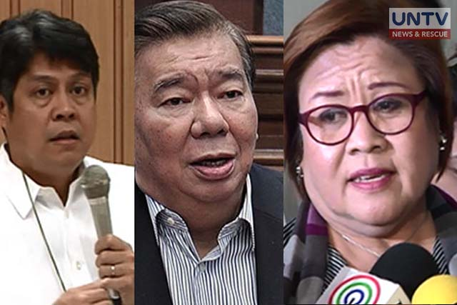 "FILE PHOTOS: Liberal Party Senators: (Left-Right) Sen. Francis ""Kiko"" Pangilinan, Sen. Franklin Drilon, Sen. Leila De Lima"