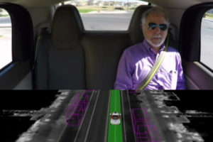 A blind man, Steve Mahen, took a test drive of Google's self-driving car in Austin, Texas.