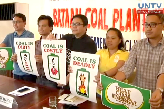 Environmental groups urge the Department of Environment and Natural Resources to suspend the operation of a coal-fired power plant in Limay, Bataan.