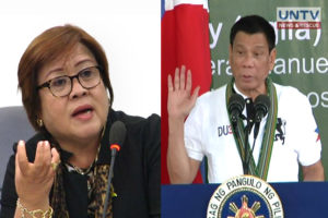 FILE PHOTOS: Sen. Leila De Lima and Pres. Rodrigo Duterte