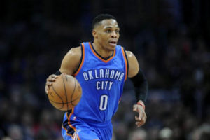 January 16, 2017; Los Angeles, CA, USA; Oklahoma City Thunder guard Russell Westbrook (0) moves the ball up court against the Los Angeles Clippers during the first half at Staples Center. Mandatory Credit: Gary A. Vasquez-USA TODAY Sports