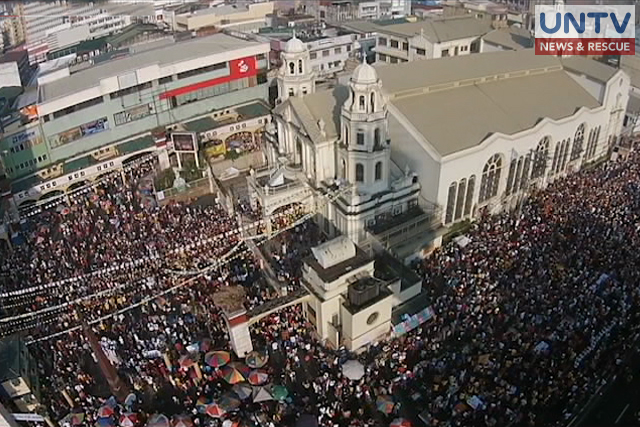 UNTV drone captures millions of devotees as they flock around Quiapo Church in Manila in celebration of the feast day of Black Nazarene.