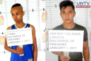Two soldiers who were charged for firing indiscriminately during year-end revelry in Oriental Mindoro.