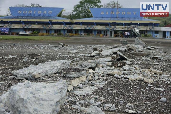 The damaged runway of Surigao Airport after a 6.7 magnitude earthquake hit Mindanao region.(Photoville International/CERILO EBRANO)