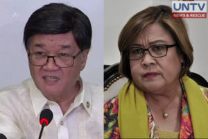 FILE PHOTO: Justice Secretary Vitaliano Aguirre II and Senator Leila de Lima