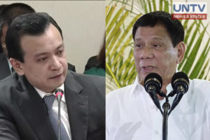 FILE PHOTO: Senator Antonio Trillanes IV (L) and President Rodrigo Duterte (R)