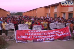 3,000 members of the urban poor group, Kalipunan Ng Damayang Mahihirap (Kadamay) remain in the resettlement zone of the National Housing Authority (NHA) in Pandi, Bulacan.