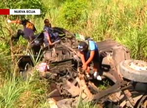 Authorities inspecting the wreckage of the fallen bus in Nueva Ecija.