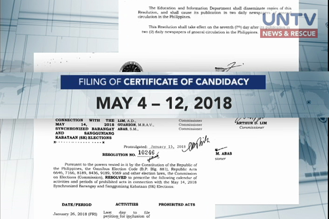 COMELEC Releases Calendar Of Activities In Line With The May