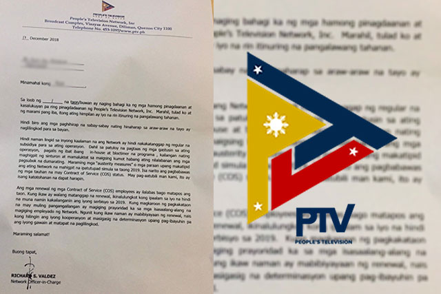 Talents under gov't station PTV faces non-renewal of contract in