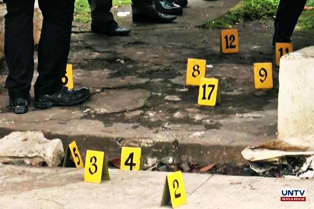 Photo of crime scene where  AKO Bicol Partylist Rep. Rodel Batocabe and his police escort SPO2 Orlando Diaz were shot dead after attending a gift-giving event in Daraga, Albay.