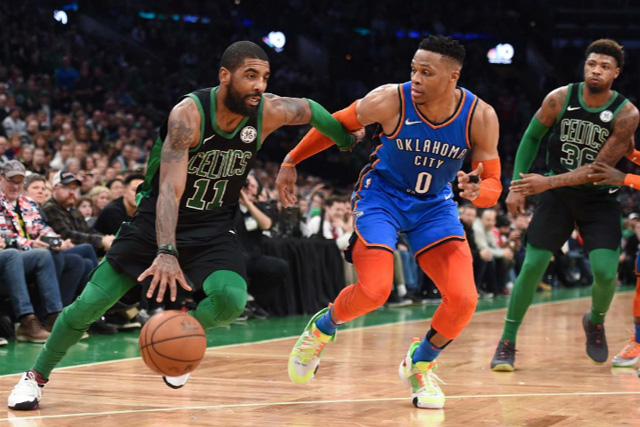 sports shoes e57eb 24c44 Feb 3, 2019  Boston, MA, USA  Boston Celtics guard Kyrie Irving (11) drives  to the basket while Oklahoma City Thunder guard Russell Westbrook (0)  defends ...