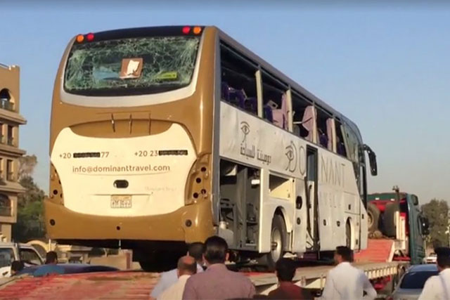 An explosion hit a tourist bus near Cairo Egypt that left 10 people injured. | Image grabbed from Reuters footage
