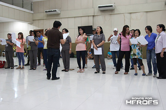 Selected performers from the AFP and the PNP prepare for their special performance in Songs for Heroes 2.