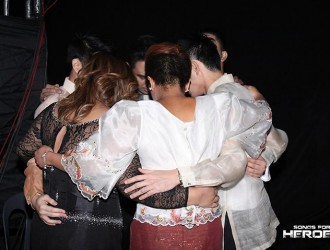 "Before their performance, vocal group 5th Gen and Jed Madela utter a prayer in hope of conveying the message of their song, ""Ikaw, Ako, Tayo'y Magkakapatid,"" well."