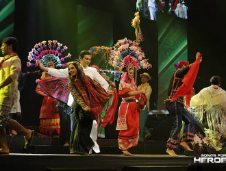 The Ramon Obusan Folkloric Group, one of the leading residents of the Cultural Center of the Philippines, share their theatric skills during the Songs for Heroes 2 charity concert.