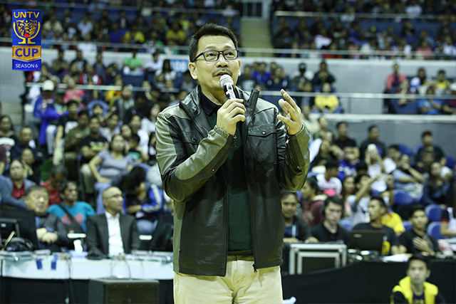 BMPI president and CEO Kuya Daniel Razon delivers his speech at the opening of UNTV Cup Season 6. (Photo by Lian San Miguel Opol)