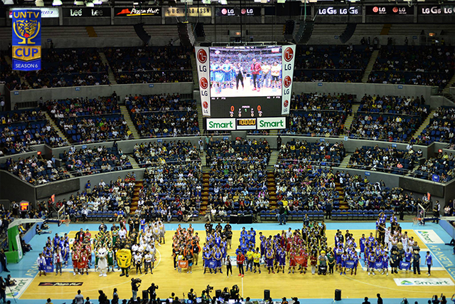 Teams line up during the opening rites of UNTV Cup Season 6 at the Smart-Araneta Coliseum. (Photo by Lian San Miguel Opol)